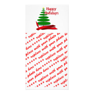 Christmas Tree with Red Ribbon Photo Card