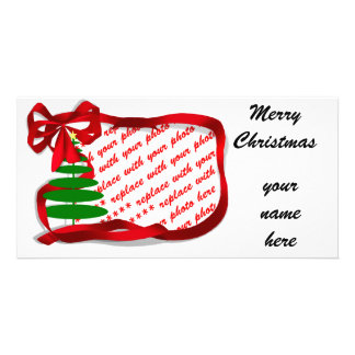Christmas Tree with Red Ribbon Photo Card Template