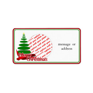 Christmas Tree with Red Ribbon Photo Frame Address Label