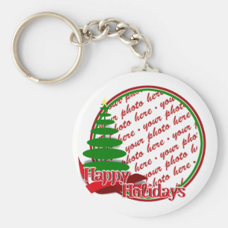 Christmas Tree with Red Ribbon Photo Frame Basic Round Button Key Ring