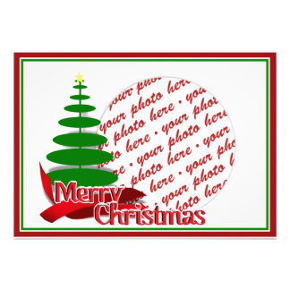 Christmas Tree with Red Ribbon Photo Frame Personalized Announcement