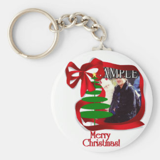 Christmas Tree with Red Ribbon Photo Frame Key Chains