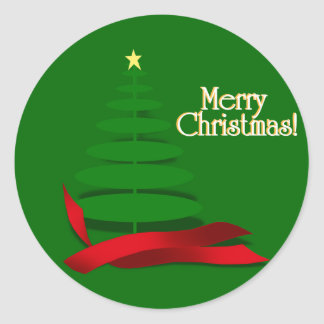 Christmas Tree with Red Ribbon Round Sticker
