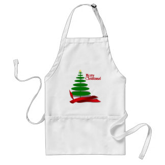 Christmas Tree with Red Ribbon Standard Apron