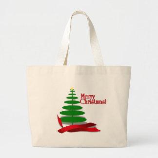 Christmas Tree with Red Ribbon Jumbo Tote Bag