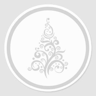 Christmas tree with silver gray swirls sticker