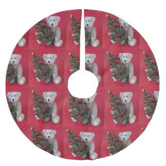 Christmas tree with teddy bear brushed polyester tree skirt