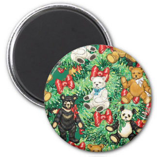 Christmas Tree with Teddy Bear Ornaments 6 Cm Round Magnet