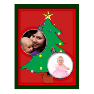 Christmas Tree with Two Ornament Photo Frames Post Cards