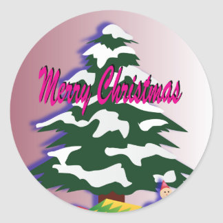 Christmas Tree with Vintage Toys Round Stickers