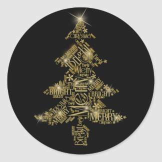 Christmas Tree Word Cloud Gold ID271 Round Sticker
