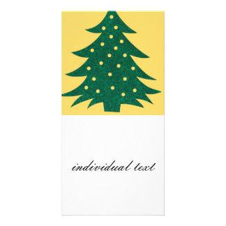 christmas tree yellow photo greeting card