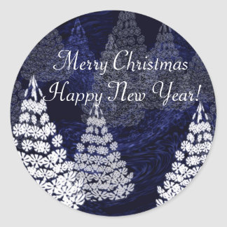 Christmas trees 2 classic round sticker