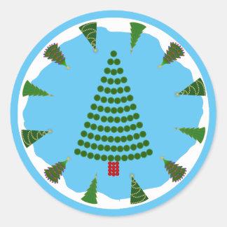 Christmas Trees All Around Green Dot Tree Round Sticker
