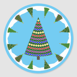Christmas Trees All Around with Spotted Christmas Round Sticker