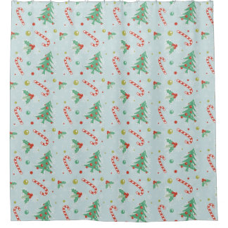Christmas Trees And Candy Canes Shower Curtain