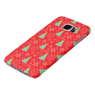 Christmas Trees and Snowflakes on Red Samsung Galaxy S6 Cases