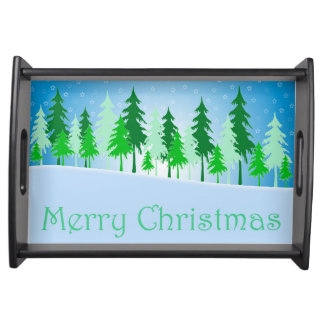 Christmas trees and stars illustration serving tray