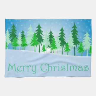Christmas trees and stars illustration tea towel