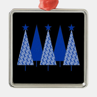 Christmas Trees - Blue Ribbon Colon Cancer Christmas Ornament