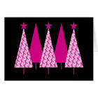 Christmas Trees - Breast Cancer Pink Ribbon Card