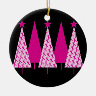 Christmas Trees - Breast Cancer Pink Ribbon Christmas Ornament