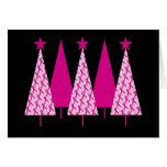Christmas Trees - Breast Cancer Pink Ribbon Greeting Card