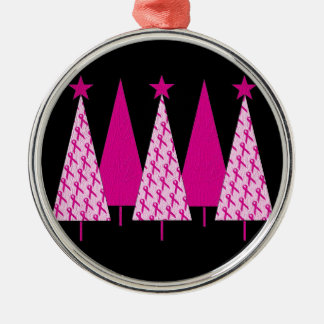 Christmas Trees - Breast Cancer Pink Ribbon Silver-Colored Round Decoration