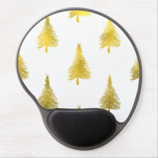 Christmas Trees Faux Gold Foil Holiday Pattern Gel Mouse Pad