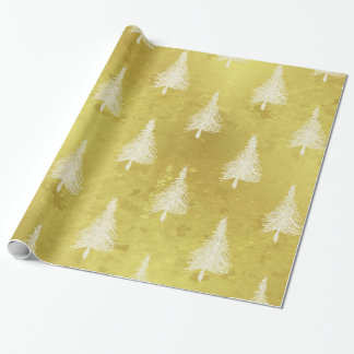 Christmas Trees Faux Gold Foil Holiday Pine Tree Wrapping Paper