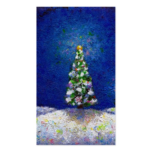 Christmas trees fun colorful original art painting business card templates