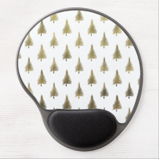 Christmas Trees Gold Bronze Holiday Pattern Tree Gel Mouse Pad