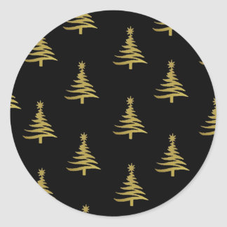Christmas Trees Gold on Black Round Sticker