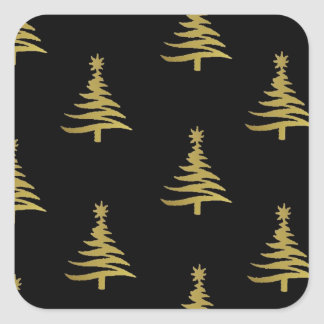 Christmas Trees Gold on Black Square Sticker