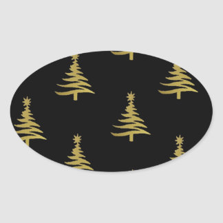 Christmas Trees Gold on Black Oval Sticker