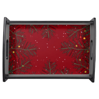 CHRISTMAS TREES green and red Serving Tray