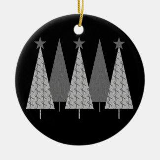 Christmas Trees - Grey Ribbon Brain Cancer Christmas Ornament
