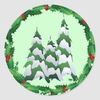 CHRISTMAS TREES & HOLLY by SHARON SHARPE Round Sticker