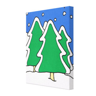 Christmas trees in the forest gallery wrap canvas
