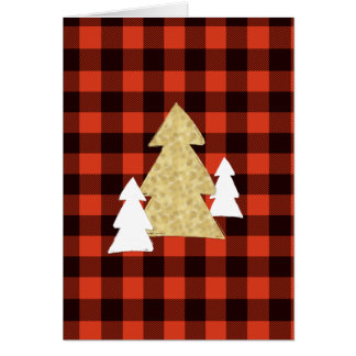 Christmas Trees on Red Plaid Holiday Card