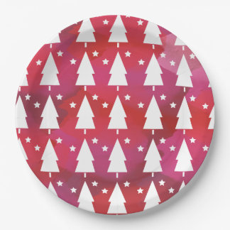 Christmas Trees On Watercolor Paper Plate
