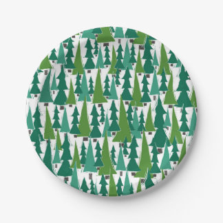 Christmas trees paper plate