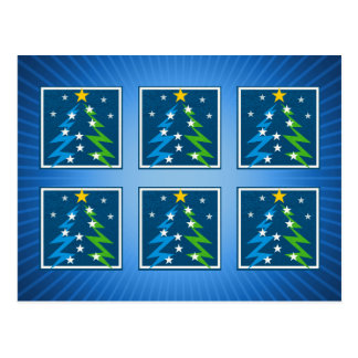 Christmas Trees Pattern | Blue Postcard