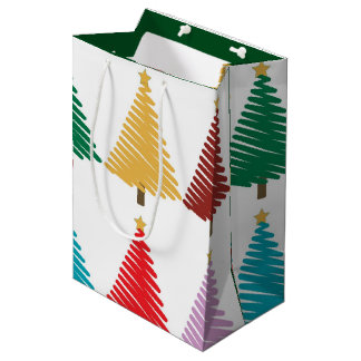 Christmas Trees pattern Medium Gift Bag