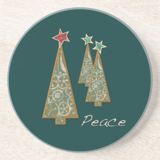 Christmas Trees-Peace/Green Beverage Coasters