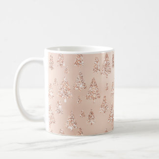 Christmas Trees Pink Rose Gold Blush Girly Sparkly Coffee Mug