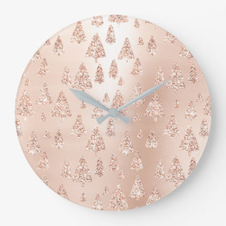 Christmas Trees Pink Rose Gold Blush Girly Sparkly Large Clock