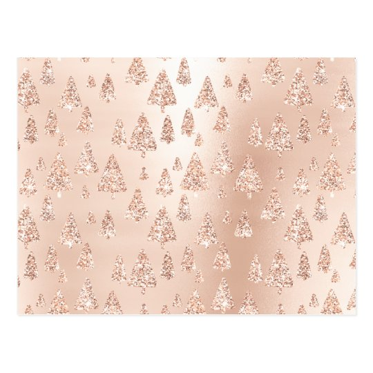 Christmas Trees Pink Rose Gold Blush Powder Glam