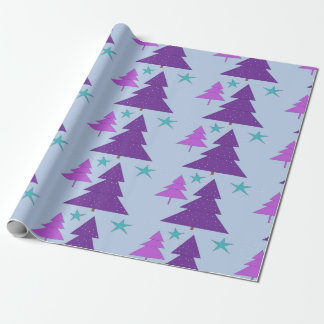 Christmas Trees Purple Digital Wrapping Paper