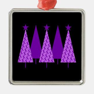 Christmas Trees - Purple Ribbon Crohns & Colitis Silver-Colored Square Decoration